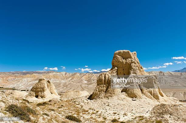 Erosion landscape, ruins of a dzong, ruined fortress near Lo Manthang, Upper Mustang, Lo, Himalayas, Nepal