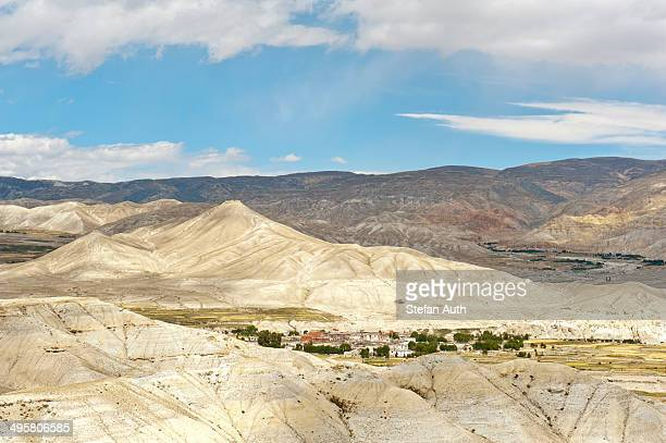 Erosion landscape, town of Lo Manthang, Upper Mustang, Lo, Himalayas, Nepal