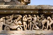 Erótico esculturas en, Khajuraho