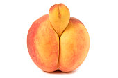 Erotic Peach front view, strange growth on top portion looks like a protruding  penis Image shot with Canon Rebel T6s 24 Megapixel DIGIC 6, 24-105mm f/4L IS USM lens.
