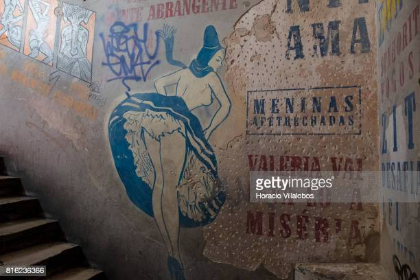 Erotic wall painting at the staircase at 'Pensao Amor' on July 14 2017 in Lisbon Portugal 'Pensao Amor' used to be a five floors brothel in Cais do...