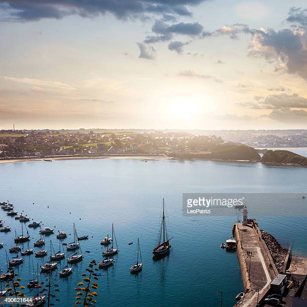 Erquy harbor and bay seen from the cliffs, France, Brittany