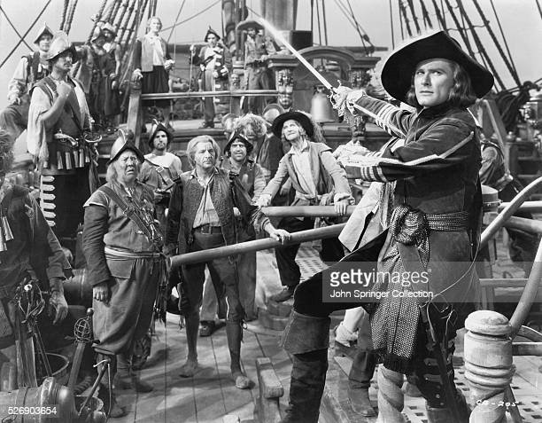 Errol Flynn as doctor turned pirate Peter Blood in the 1935 adventure film Captain Blood