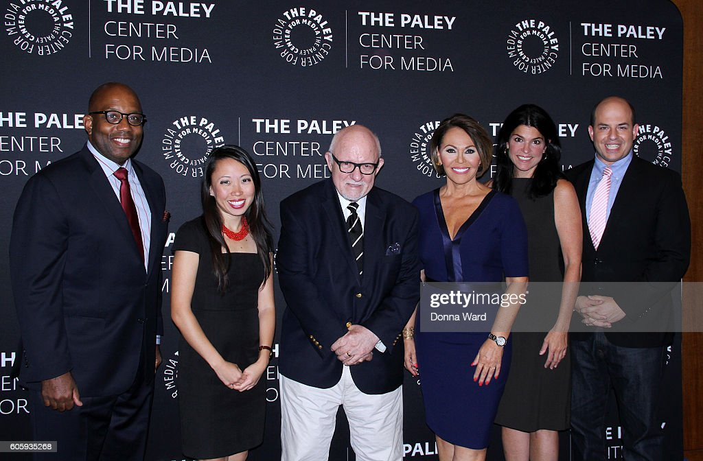 Errol Louis, Amanda Terkel, Ed Rollins, Maria Elena Salinas, Maureen J. Reidy and Brian Stelter pose before The Paley Center For Media Presents 'As The Nation Decides: Why The Presidential Debates Matter' at the Paley Center for Media on September 15, 2016 in New York City.