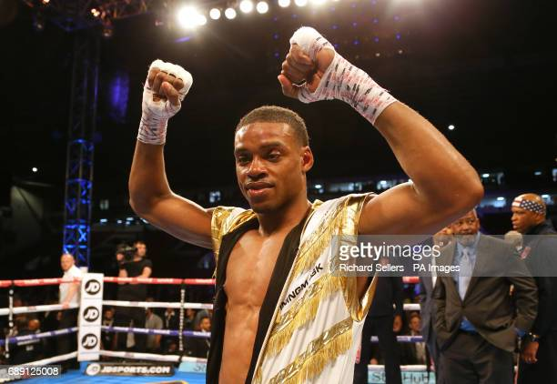 Errol Spence celebrates after beating Kell Brook during their IBF Welterweight World Championship bout at Bramall Lane Sheffield