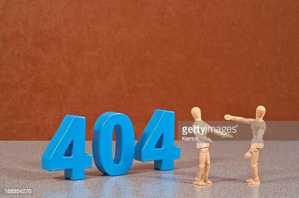 Error 404 - Wooden Mannequin demonstrating this word