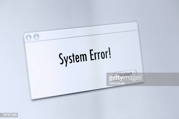 Error message on a computer screen
