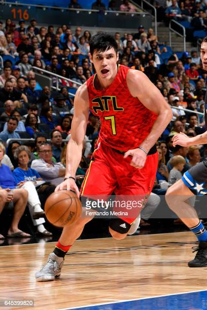 Ersan Ilyasova of the Atlanta Hawks drives to the basket against the Orlando Magic on February 25 2017 at Amway Center in Orlando Florida NOTE TO...