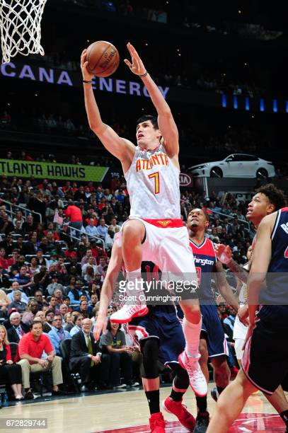 Ersan Ilyasova of the Atlanta Hawks goes up for a shot against the Washington Wizards during Game Four of the Eastern Conference Quarterfinals of the...