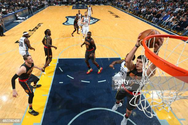 Ersan Ilyasova of the Atlanta Hawks grabs the rebound against the Memphis Grizzlies on March 11 2017 in Memphis Tennessee NOTE TO USER User expressly...