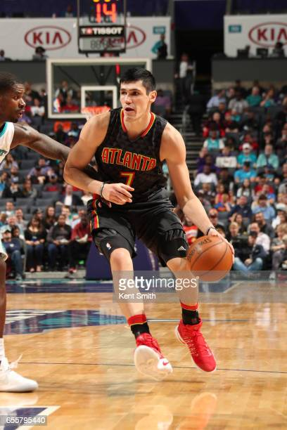 Ersan Ilyasova of the Atlanta Hawks handles the ball during a game against the Charlotte Hornets on March 20 2017 at Spectrum Center in Charlotte...