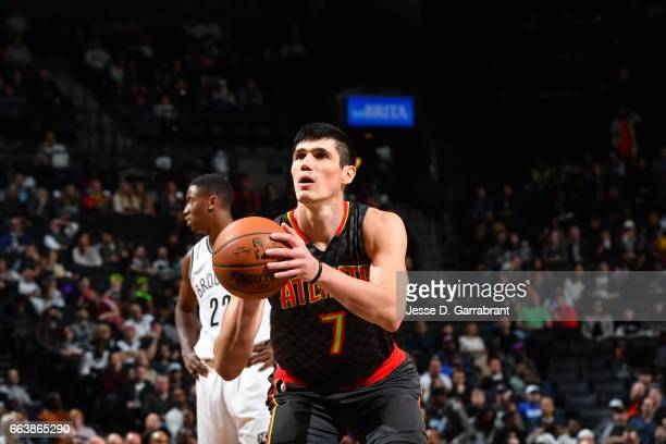 Ersan Ilyasova of the Atlanta Hawks shoots a foul shot against the Brooklyn Nets on April 2 2017 at Barclays Center in Brooklyn New York NOTE TO USER...