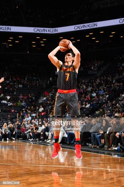 Ersan Ilyasova of the Atlanta Hawks shoots the ball against the Brooklyn Nets on April 2 2017 at Barclays Center in Brooklyn New York NOTE TO USER...