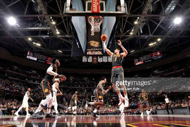 Ersan Ilyasova of the Atlanta Hawks shoots the ball during the preseason game against the Cleveland Cavaliers on October 4 2017 at Quicken Loans...