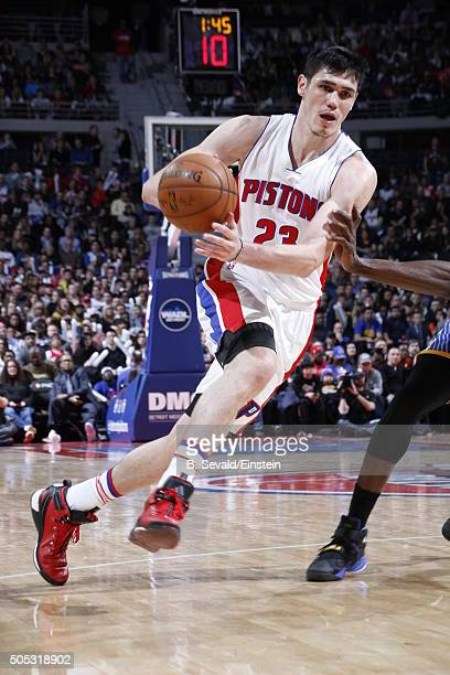 Ersan Ilyasova of the Detroit Pistons drives to the basket against the Golden State Warriors on January 16 2016 at The Palace of Auburn Hills in...