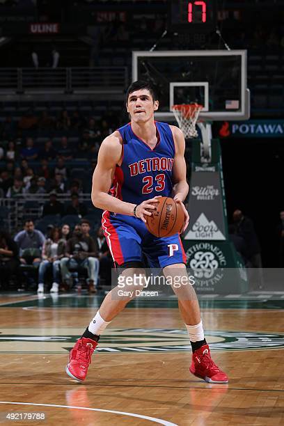 Ersan Ilyasova of the Detroit Pistons handles the ball against the Milwaukee Bucks on October 10 2015 at the BMO Harris Bradley Center in Milwaukee...