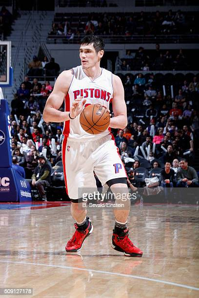 Ersan Ilyasova of the Detroit Pistons handles the ball during the game against the Toronto Raptors on February 8 2016 at The Palace of Auburn Hills...