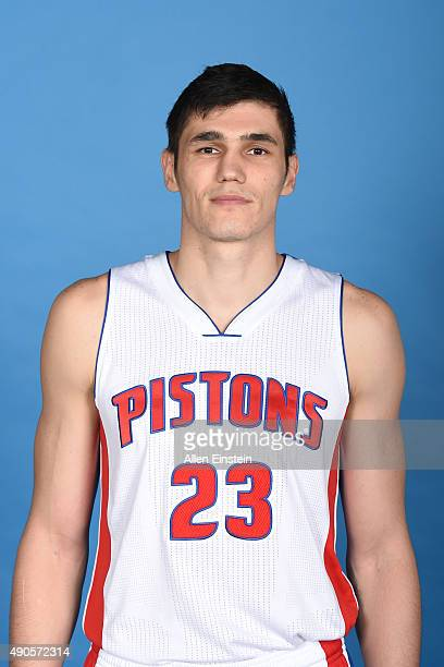 Ersan Ilyasova of the Detroit Pistons poses for a portrait during media day on September 28 2015 at The Palace of Auburn Hills in Auburn Hills...