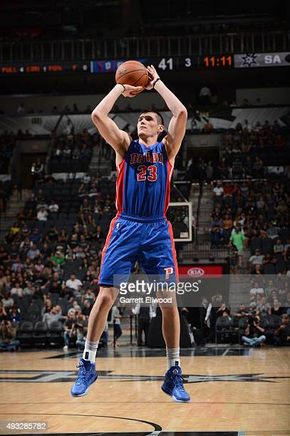 Ersan Ilyasova of the Detroit Pistons shoots the ball against the San Antonio Spurs during a preseason game on October 18 2015 at the ATT Center in...