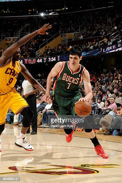 Ersan Ilyasova of the Milwaukee Bucks drives to the hoop against the Cleveland Cavaliers at The Quicken Loans Arena on January 24 2014 in Cleveland...