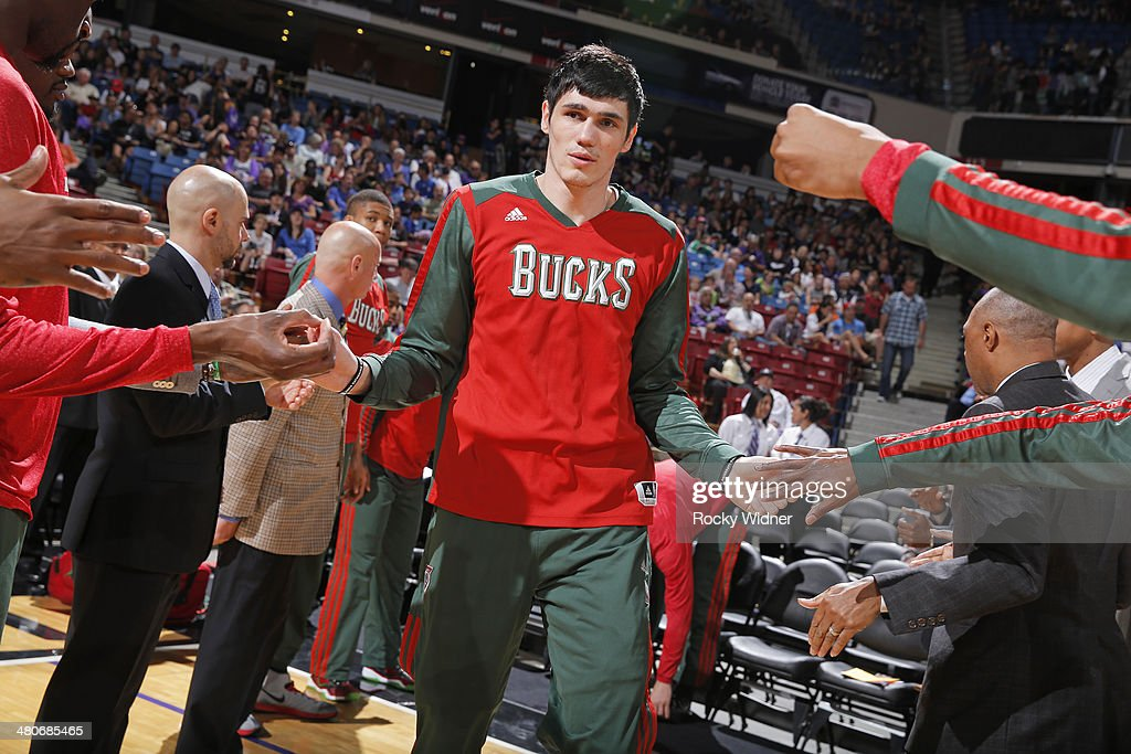 <a gi-track='captionPersonalityLinkClicked' href=/galleries/search?phrase=Ersan+Ilyasova&family=editorial&specificpeople=557070 ng-click='$event.stopPropagation()'>Ersan Ilyasova</a> #7 of the Milwaukee Bucks gets introduced into the starting lineup against the Sacramento Kings on March 23, 2014 at Sleep Train Arena in Sacramento, California.
