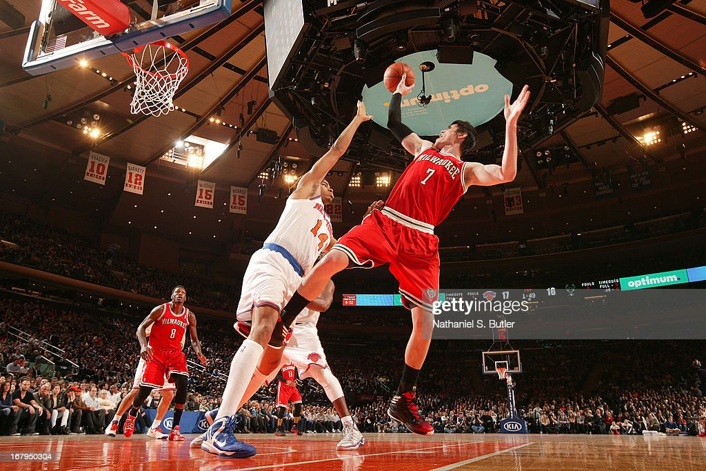 <a gi-track='captionPersonalityLinkClicked' href=/galleries/search?phrase=Ersan+Ilyasova&family=editorial&specificpeople=557070 ng-click='$event.stopPropagation()'>Ersan Ilyasova</a> #7 of the Milwaukee Bucks puts up a shot against the New York Knicks on April 5, 2013 at Madison Square Garden in New York City.