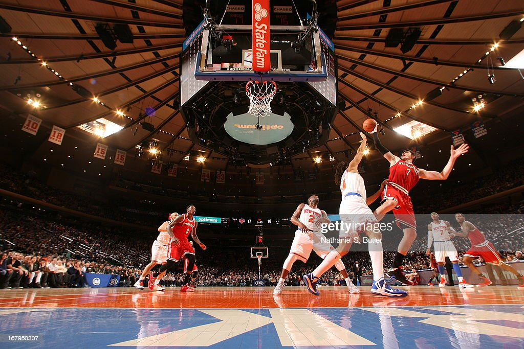 Ersan Ilyasova #7 of the Milwaukee Bucks puts up a shot against the New York Knicks on April 5, 2013 at Madison Square Garden in New York City.