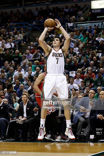 Ersan Ilyasova of the Milwaukee Bucks shoots a two pointer during the first quarter against the Chicago Bulls in the first round of the 2015 NBA...