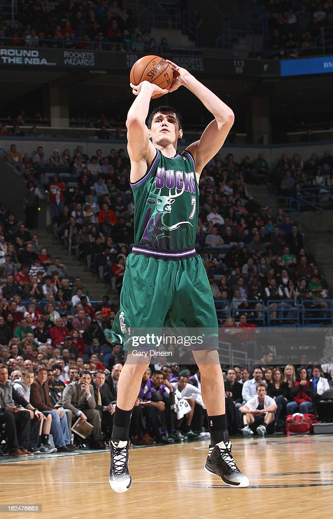 <a gi-track='captionPersonalityLinkClicked' href=/galleries/search?phrase=Ersan+Ilyasova&family=editorial&specificpeople=557070 ng-click='$event.stopPropagation()'>Ersan Ilyasova</a> #7 of the Milwaukee Bucks shoots against the Atlanta Hawks on February 23, 2013 at the BMO Harris Bradley Center in Milwaukee, Wisconsin.