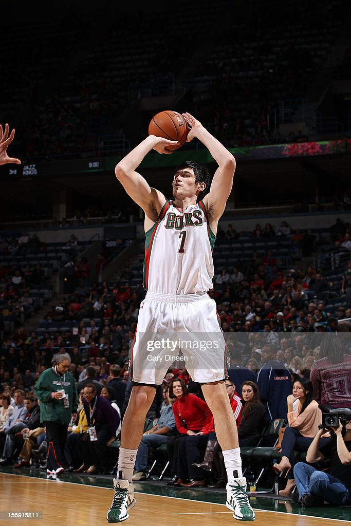 <a gi-track='captionPersonalityLinkClicked' href=/galleries/search?phrase=Ersan+Ilyasova&family=editorial&specificpeople=557070 ng-click='$event.stopPropagation()'>Ersan Ilyasova</a> #7 of the Milwaukee Bucks shoots against the Chicago Bulls during the NBA game on November 24, 2012 at the BMO Harris Bradley Center in Milwaukee, Wisconsin.