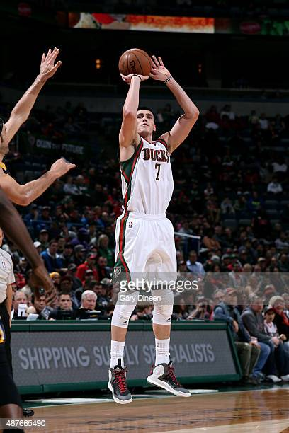 Ersan Ilyasova of the Milwaukee Bucks shoots against the Indiana Pacers on March 26 2015 at BMO Harris Bradley Center in Milwaukee Wisconsin NOTE TO...