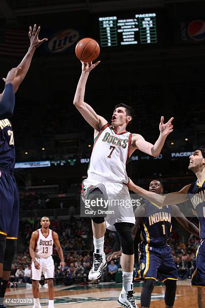 Ersan Ilyasova of the Milwaukee Bucks shoots against the Indiana Pacers on February 22 2014 at the BMO Harris Bradley Center in Milwaukee Wisconsin...