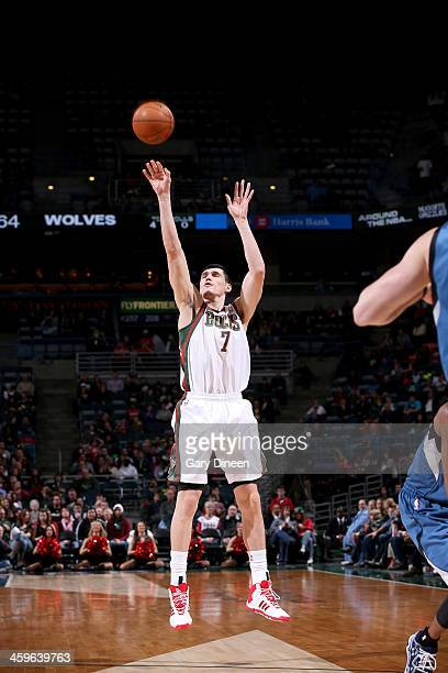 Ersan Ilyasova of the Milwaukee Bucks shoots against the Minnesota Timberwolves on December 28 2013 at the BMO Harris Bradley Center in Milwaukee...