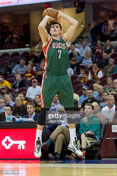 Ersan Ilyasova of the Milwaukee Bucks shoots during the first half against the Cleveland Cavaliers at Quicken Loans Arena on October 14 2014 in...