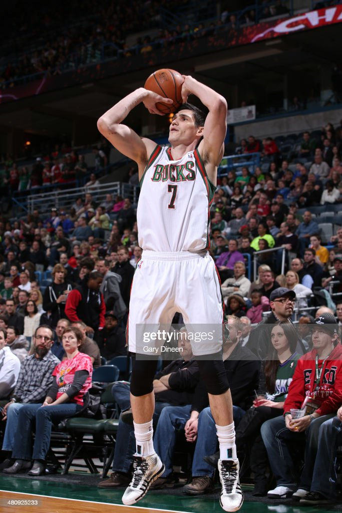 <a gi-track='captionPersonalityLinkClicked' href=/galleries/search?phrase=Ersan+Ilyasova&family=editorial&specificpeople=557070 ng-click='$event.stopPropagation()'>Ersan Ilyasova</a> #7 of the Milwaukee Bucks shoots the ball against the Indiana Pacers on February 22, 2014 at the BMO Harris Bradley Center in Milwaukee, Wisconsin.
