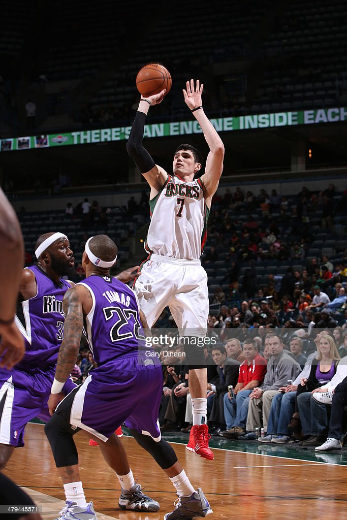 <a gi-track='captionPersonalityLinkClicked' href=/galleries/search?phrase=Ersan+Ilyasova&family=editorial&specificpeople=557070 ng-click='$event.stopPropagation()'>Ersan Ilyasova</a> #7 of the Milwaukee Bucks takes a shot against the Sacramento Kings on March 5, 2014 at the BMO Harris Bradley Center in Milwaukee, Wisconsin.