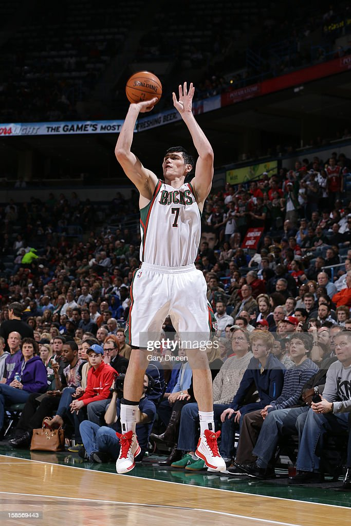 <a gi-track='captionPersonalityLinkClicked' href=/galleries/search?phrase=Ersan+Ilyasova&family=editorial&specificpeople=557070 ng-click='$event.stopPropagation()'>Ersan Ilyasova</a> #7 of the Milwaukee Bucks takes a shot against the Los Angeles Clippers on December 15, 2012 at the BMO Harris Bradley Center in Milwaukee, Wisconsin.