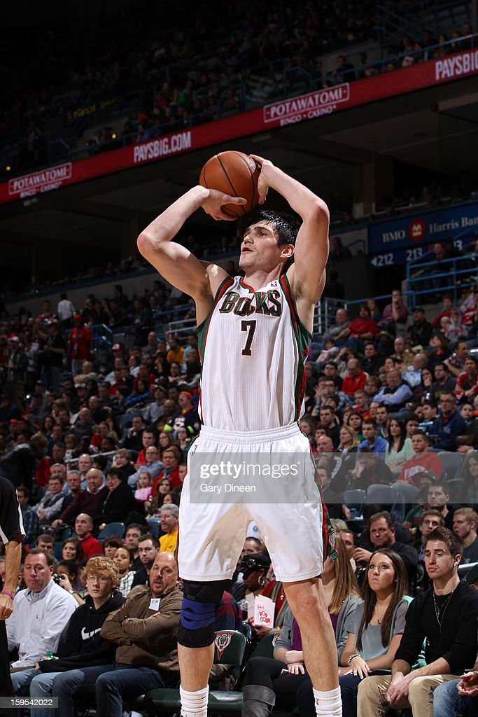 <a gi-track='captionPersonalityLinkClicked' href=/galleries/search?phrase=Ersan+Ilyasova&family=editorial&specificpeople=557070 ng-click='$event.stopPropagation()'>Ersan Ilyasova</a> #7 of the Milwaukee Bucks takes a shot against the Detroit Pistons on January 11, 2013 at the BMO Harris Bradley Center in Milwaukee, Wisconsin.