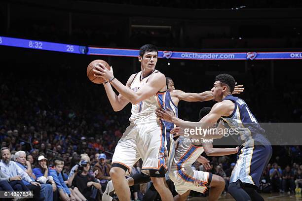Ersan Ilyasova of the Oklahoma City Thunder handles the ball against the Memphis Grizzlies during a preseason game on October 13 2016 at the BOK...