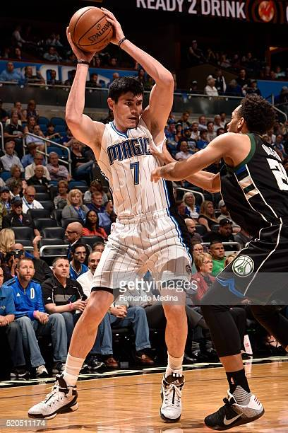 Ersan Ilyasova of the Orlando Magic defends the ball against hte Milwaukee Bucks during the game on April 11 2016 at Amway Center in Orlando Florida...