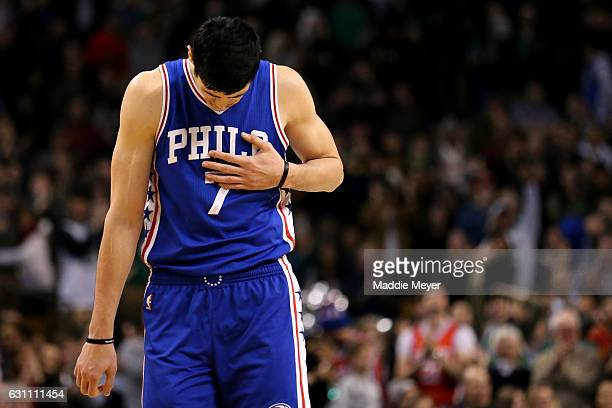 Ersan Ilyasova of the Philadelphia 76ers reacts after missing a three point shot during the fourth quarter against the Boston Celtics at TD Garden on...