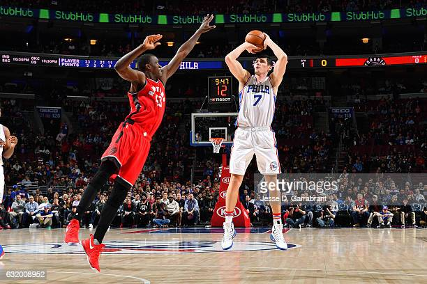 Ersan Ilyasova of the Philadelphia 76ers shoots the ball during the game against Pascal Siakam of the Toronto Raptors on January 18 2017 at Wells...