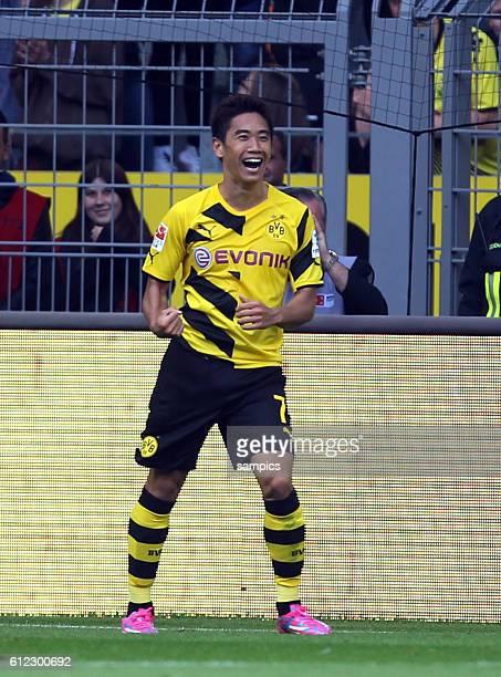 Erstes spiel und erstes tor für den Rückkehrer Shinji Kagawa Jubel Fußball 1Bundesliga Borussia Dortmund SC Freiburg 1392014
