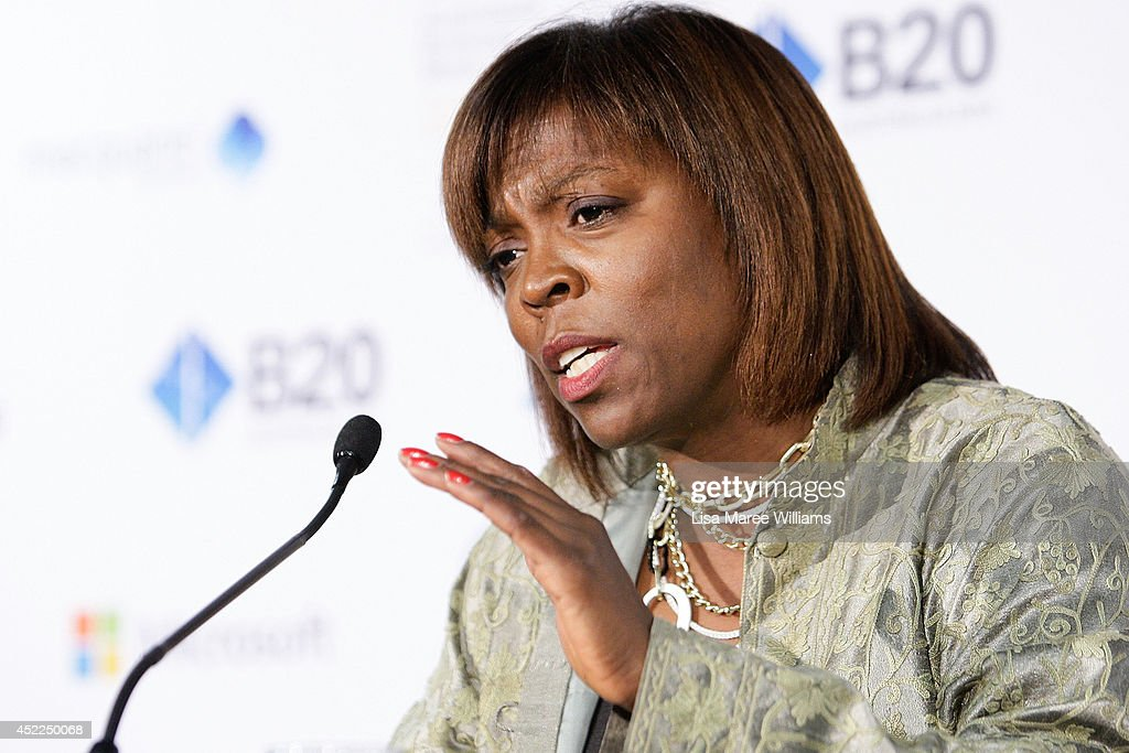 Ertharin Cousin Executive Director World Food Program attends a press conference during the B20 Summit on July 17 2014 in Sydney Australia Over 350...