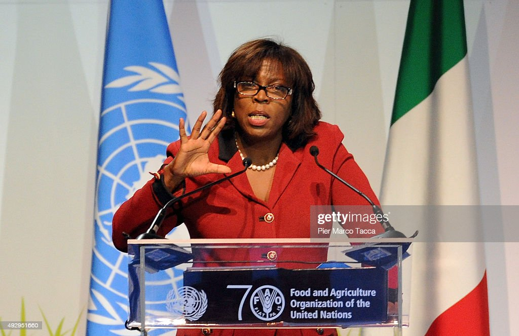 Ertharin Cousin Executive Director World Food Programme makes a speech during the World Food Day Expo 2015 on October 16 2015 in Milan Italy The...