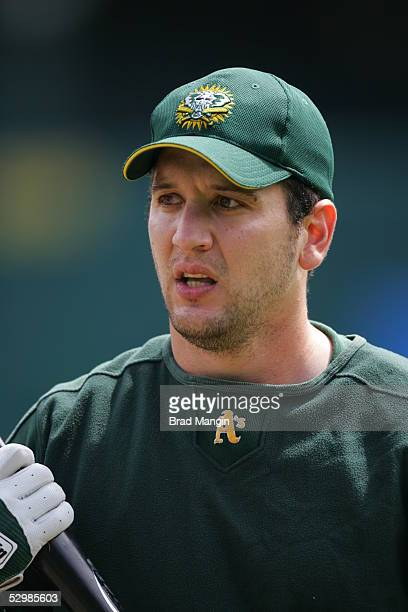 Erubiel Durazo of the Oakland Athletics is pictured before the game against the New York Yankees at McAfee Coliseum on May 15 2005 in Oakland...