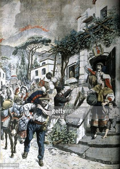 Eruption of mount vesuvius people escaping in le petit journal italy