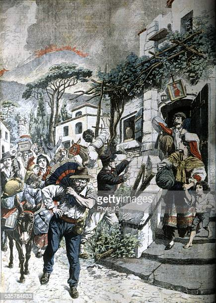 Eruption of Mount Vesuvius People escaping in 'Le Petit journal' Italy