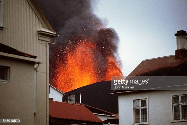 Eruption of the Helgafell Volcano on the island of Heimaey in the Vestmann Isles south of Iceland 150 meters from the town of Vetmannaeyjar The...