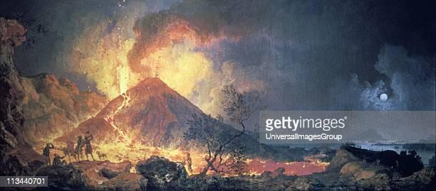 Eruption of Vesuvius' by Pierre Jacques Votaire French painter Oil on canvas Musee des Beaux Arts Le Havre